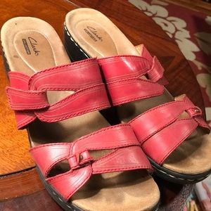 Red Clarks slip on sandals Sz 9.5